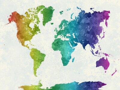 Plakát V akvarel duha Mapa světa