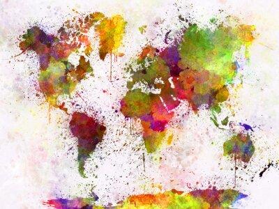 Plakát V akvarel Mapa světa