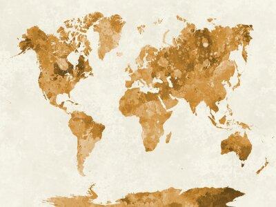 Plakát V akvarel oranžové Mapa světa
