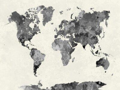 Plakát V akvarel šedé Mapa světa