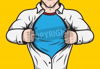 Plakát V přestrojení comicbook hrdina dospělý muž pod krytem otevření jeho košile šablony