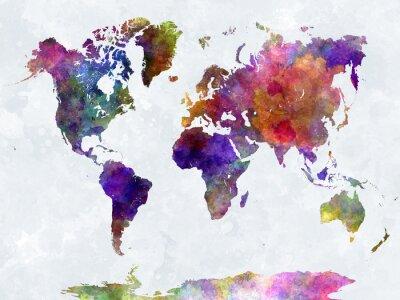 Plakát V watercolorpurple a modré mapa světa
