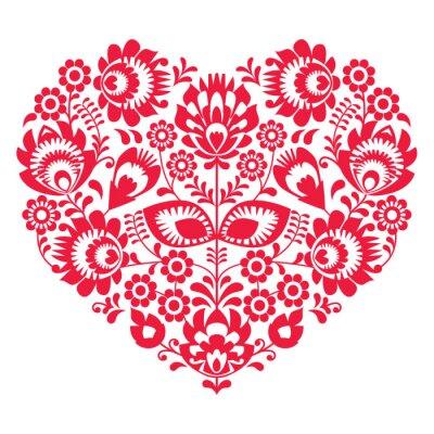 Plakát Valentines Day lidové umění červené srdce - polský vzor