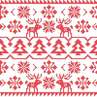 Plakát Vánoce a zimní pletené bezešvé vzor