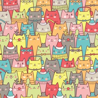 Plakát Vánoční kočky bezešvé vzor