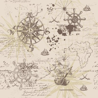 Plakát Vector abstract seamless background on the theme of travel, adventure and discovery. Old hand drawn map with vintage sailing yachts, wind rose, routs, nautical symbols and handwritten inscriptions