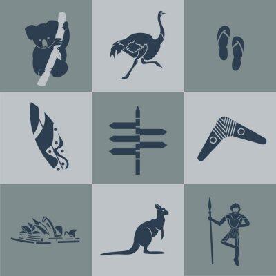 Plakát Vector Austrálie byt cestovní černá