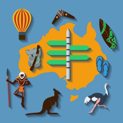 Plakát Vector Austrálie Travel plochý barevný