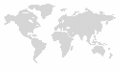 Plakát Vector dotted world map. isolated background. Flat Earth, gray map template for web site pattern, anual report, inphographics. Globe similar worldmap icon. Travel worldwide, map silhouette backdrop