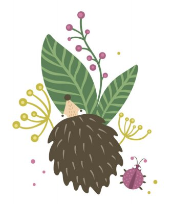 Plakát Vector hand drawn flat hedgehog with berries, leaves and ladybug clip art. Funny autumn scene with prickly animal having fun. Cute woodland animalistic illustration for children's design, print