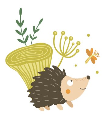 Plakát Vector hand drawn flat hedgehog with mushroom and dragonfly clip art. Funny autumn scene with prickly animal having fun. Cute woodland animalistic illustration for children's design, print,