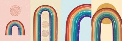 Plakát Vector illustration. Abstract poster set. Contemporary backgrounds. Colorful rainbow. Design elements for book cover, page template, print, card, brochure, magazine, poster. 60s, 70s retro graphic