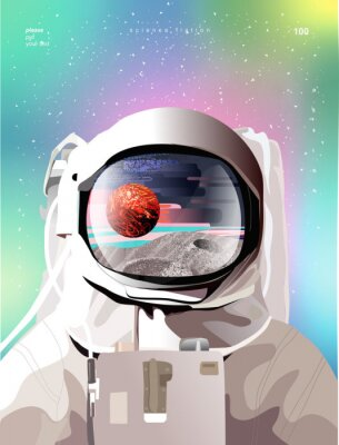 Plakát Vector illustration of a portrait of an astronaut in a spacesuit in space with planets, gradient abstract background for a poster, banner or cover