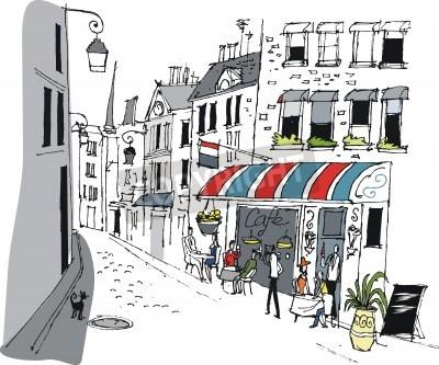 Plakát Vector illustration of cafe in Paris, France.