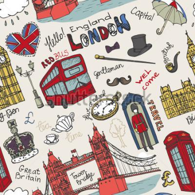Plakát Vector London mezník, nápisy v bezešvém vzoru. Doodle bezpečné soukromé sketchy.Famous architektonické památky, znak, symboly. Anglie vinobraní ikony, pozadí, pozadí, tapety, tkaninou