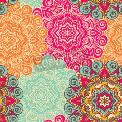 Plakát Vector Mandala. Kulatý ornament v etnickém stylu. ruční remíza
