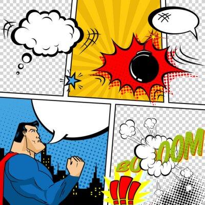 Plakát Vector Retro Comic Book bubliny ilustrace.