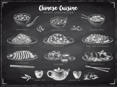 Plakát Vector ručně kreslenou ilustraci s čínským jídlem.