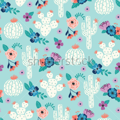 Plakát Vector seamless pattern with hand drawn cactus and floral bouquets on a blue background