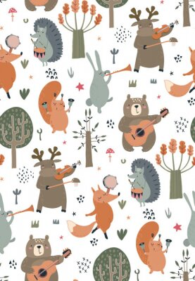 Plakát Vector seamless pattern with hand drawn wild forest animals with musical instruments.