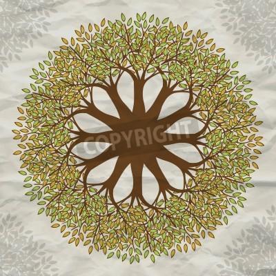 Plakát Vector tree mandala background with grunge paper