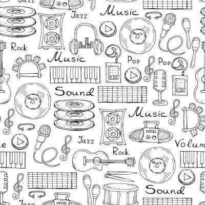 Plakát Vector vzor s rukou vypracován symboly hudby na bílé barvy