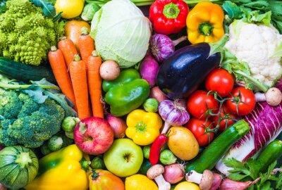 Plakát Vegetables and fruits background.