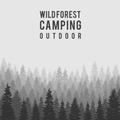 Plakát Vektor divoký jehličnatý les pozadí. šablona návrhu Outdoor camping