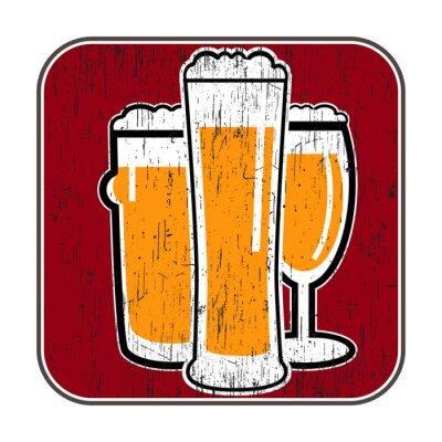 Plakát vektor dráha s různými pivních sklenic s nuly