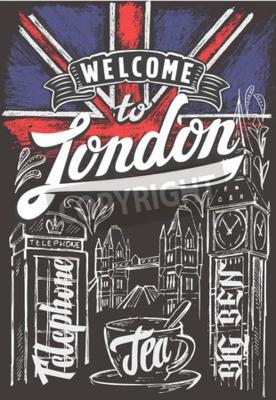 Plakát Vektor křída Velká Británie vlajka a londýn