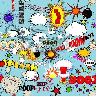 Plakát Vektor retro bezešvé vzor s komické bubliny, štítků, log a komiksových Words