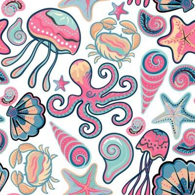 Plakát Vektor ručně malovaná bezešvé vzor s medúzy, mušle, hvězdice, chobotnice a krabi. oceánu pozadí