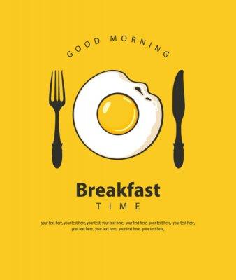 Plakát Vektorové banner na téma snídaně čas se sázeným vejcem, vidličkou a nožem na žlutém podkladu s místem pro text v retro stylu