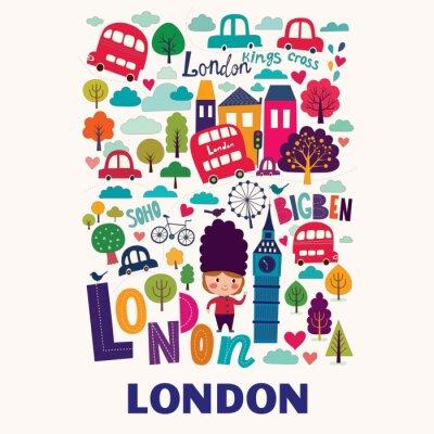Plakát Vektorové barevné vzor s symboly Londýna