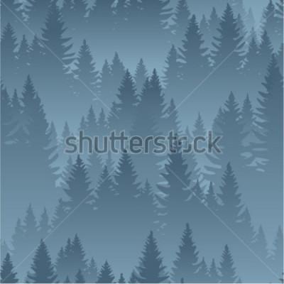 Plakát vektorové hory les pozadí textury bezešvé vzor