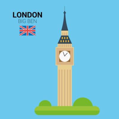 Plakát Vektorové ilustrace Big Ben (Londýn, Spojené království). Památek a památek Collection. EPS 10 souborů kompatibilní a upravovat.