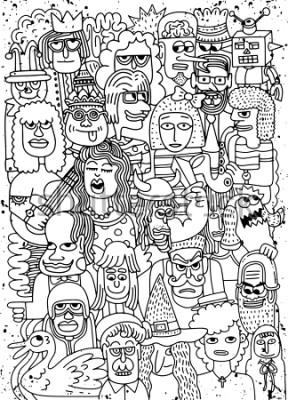 Plakát Vektorové ilustrace Cartoon tváře dav doodle dostupných obrázků, Doodle styl