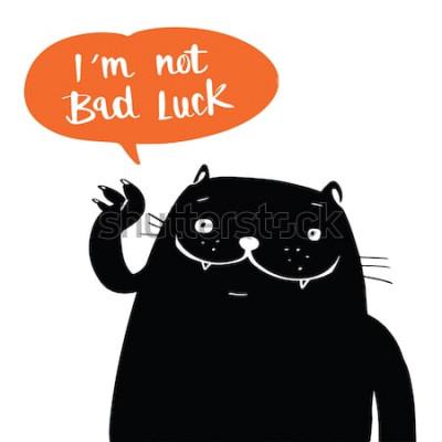 Plakát Vektorové ilustrace doodle styl černá kočka a já nemám smůlu v bublině řeči, kreslený design.