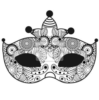 3a948018c Plakát Vektorové ilustrace karnevalové masky mandaly pro omalovánky pro  dospělé, ples carnevale mandala vettoriale da