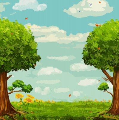 Plakát Vektorové ilustrace krásné lesní scéna se stromy a nebe