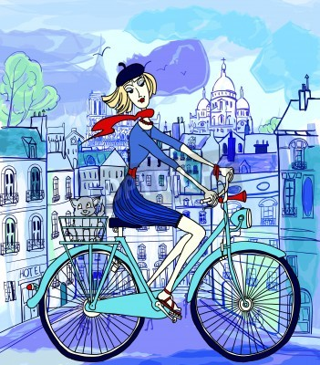 Plakát vektorové ilustrace mladá žena na kole v Paříži