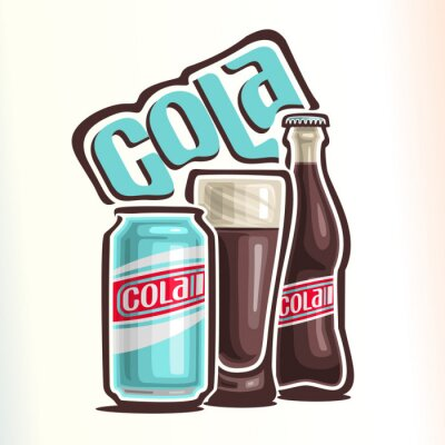 Plakát Vektorové ilustrace na téma logo pro cola, skládající se z plechovky coly, skleněná baňka naplněná coly a uzavřené skleněné láhve coly