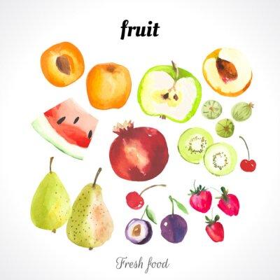 Plakát Vektorové ilustrace s akvarelem jídlem.