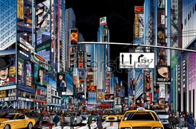 Plakát Vektorové ilustrace ulice v New Yorku v noci