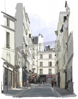 Plakát Vektorové ilustrace ulici v blízkosti Montmartre v Paříži