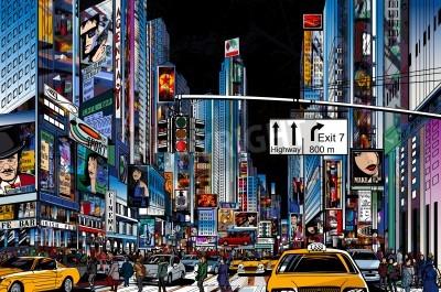 Plakát Vektorové ilustrace ulici v New Yorku v noci