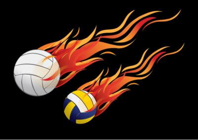 Plakát vektorové ilustrace volejbalový Požární sport