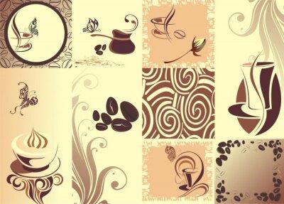 Plakát Vektorové káva backgroundwith motýl
