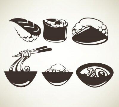 Plakát vektorové kolekce japonských symbolů potravin