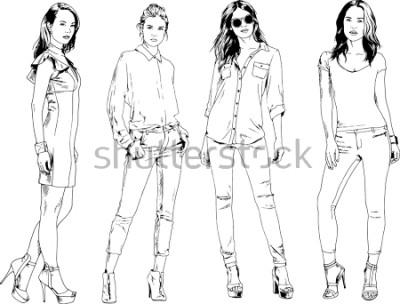 Plakát vektorové kresby na téma krásné štíhlé sportovní dívky v neformálním oblečení v různých pózách malované inkoustu rukou skica bez pozadí